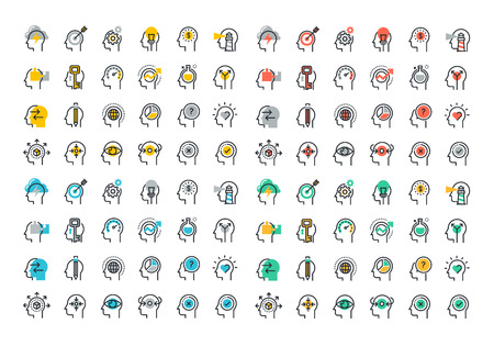 Flat line colorful icons collection of human brain process, people thinking, emotions, mental health, creative process, business solution, character experience, strategy and development, opportunities Vectores