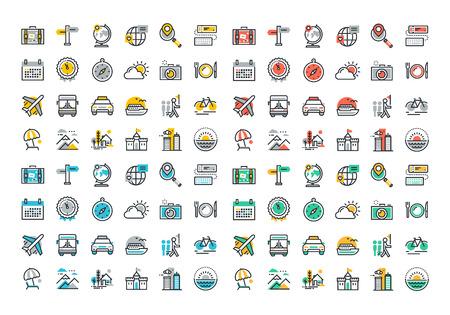 travel: Ploché linie barevné ikony sbírka cestovního ruchu téma, dovolená plánování výletů, on-line cestovní služby, turistické organizace, letecké dopravy pro plavbu, letní a zimní dovolenou, návštěvu města. Ilustrace