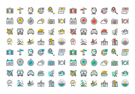 Flat line colorful icons collection of travel and tourism theme, holiday trip planning, online travel services, tour organization, air travel to cruise, summer and winter vacation, city break.