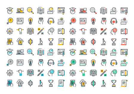 global innovation: Flat line colorful icons collection of global education, e-learning, online training and courses, video tutorials, staff training, digital library, retraining and specialization.