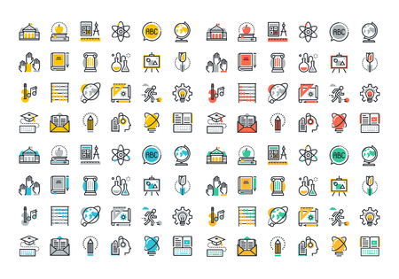 Flat line colorful icons collection of education and knowledge theme, basic and elementary study, university and college courses, distance education, webinar audio course, literature and e-book. Stock Vector - 46276642