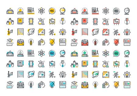 Vlakke lijn kleurrijke pictogrammen collectie van onderwijs en kennis thema, eenvoudige en elementaire studie, universiteit en hogeschool cursussen, onderwijs op afstand, webinar audio natuurlijk, literatuur en e-book. Stock Illustratie