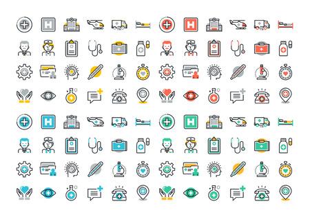 Conjunto de ícones coloridos de linha plana de cuidados de saúde e medicina, serviços médicos e apoio, instalações de cuidados de saúde, serviços médicos de emergência, transporte de pacientes, diagnóstico, tratamento e laboratório.