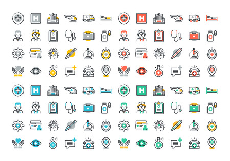 science icons: Flat line colorful icons set of healthcare and medicine, medical services and support, health care facility, emergency medical services, transport of patients, diagnosis, treatment and laboratory.