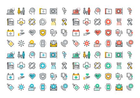 건강: 플랫 라인 의료 서비스의 다채로운 아이콘 모음, 온라인 의료 지원, 건강 보험, 약국 및 가족 건강 관리, 질병 예방