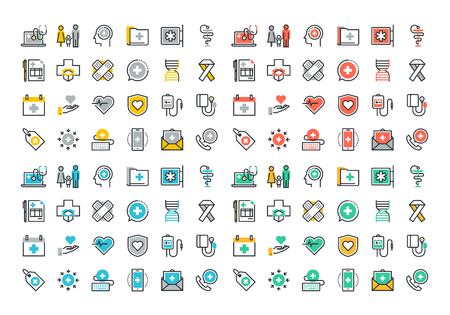medical tools: Flat line colorful icons collection of healthcare services, online medical support, health insurance, pharmacy and family health care, disease prevention