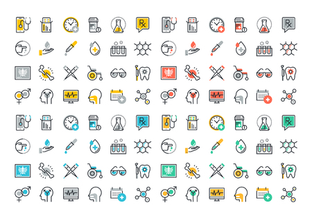 Flat line colorful icons collection of medicine theme, healthcare diagnosis and treatment, laboratory tests, medical supplies, medicines and equipment, biochemical and microbiological analysis