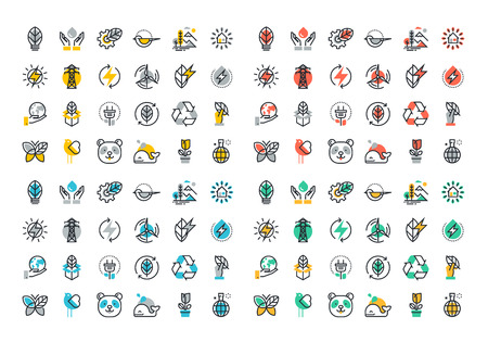 Flat line colorful icons collection of renewable energy, green technology, ecology, environment, life with nature, natural products and power Illustration