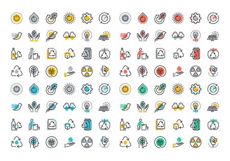 Flat line colorful icons collection of recycling, waste management , green energy, biodegradable materials, environmental protection, raising awareness of nature protection Иллюстрация