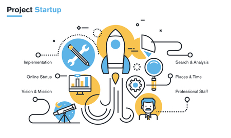 Flat line design illustration of project startup process, new products and services development from idea to implementation. Concept for web banners and printed materials, isolated on white background