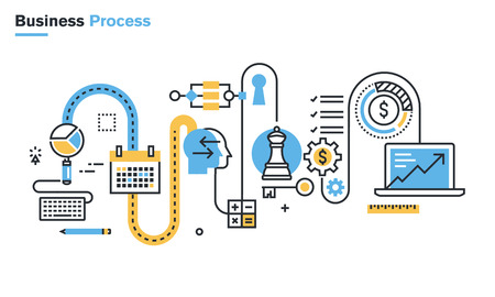 workflow: Flat line illustration of business process, market research, analysis, planning, business management, strategy, finance and investment, business success. Concept for web banners and printed materials. Illustration
