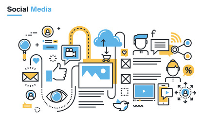 network and media: Flat line illustration of social media, social networking, video and photo sharing, communication, blogging, lifecasting, social commerce. Concept for web banners and printed materials.