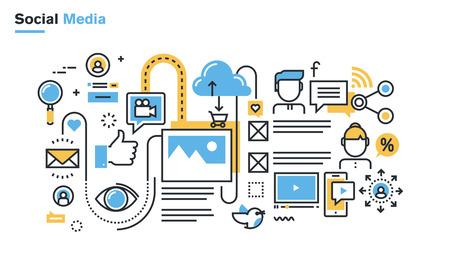 comunicação: Ilustração linha fixa de mídias sociais, redes sociais, vídeo e compartilhamento de fotos, comunicação, blogs, lifecasting, comércio social. Conceito para web banners e materiais impressos.