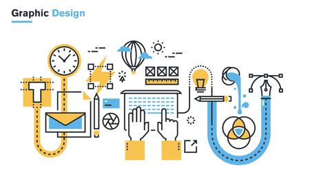 product background: Flat line illustration of graphic design process, creative workflow, stationary design, design, branding, packaging design, corporate identity. Concept for web banners and printed materials.