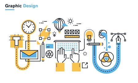 graficas: ilustración línea plana del proceso de diseño gráfico, flujo de trabajo creativo, diseño de papelería, diseño, marca, diseño de packaging, identidad corporativa. Concepto para la web banners y materiales impresos. Vectores