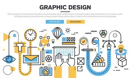 process management: Flat line design concept for graphic design workflow process, industrial design, branding, corporate identity, stationary, product design, photo editing, for website banner and landing page.