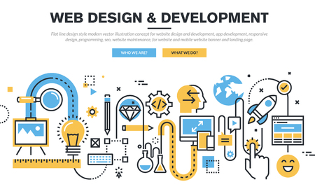 the maintenance: Línea plana diseño vectorial Ilustración de concepto para el diseño web y desarrollo, desarrollo de aplicaciones, diseño de respuesta, programación, seo, mantenimiento del sitio web, para la bandera sitio web y página de destino. Vectores