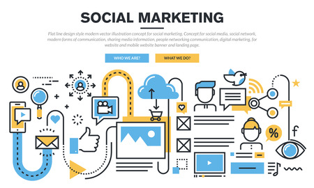 marketing: Flat line design concept for social marketing, social media and network, sharing media informations, people networking communication, digital marketing, for website banner and landing page.
