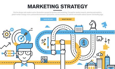 Concepto plana línea de diseño para los negocios y de marketing, investigación de mercado, planificación y análisis, estrategia de marketing, la organización del trabajo en equipo asociación, el éxito del negocio, para la bandera web y página de destino. Ilustración de vector