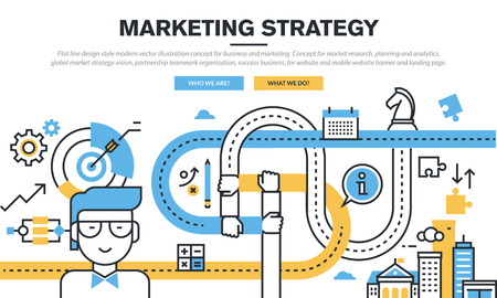 strategies: Flat line design concept for business and marketing, market research, planning and analytics, marketing strategy, partnership teamwork organization, success business, for web banner and landing page.