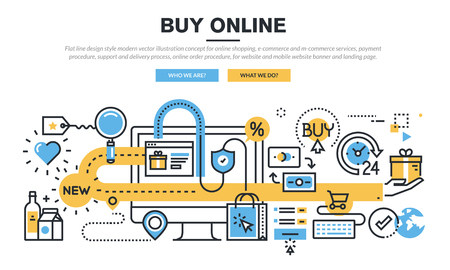 Flat line design concept for online shopping, e-commerce and m-commerce services, payment procedure, support and delivery process, online order procedure, for website banner and landing page.