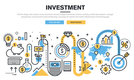 information management: Flat line design concept for global investment, finance, banking, market data analytics, strategic management, money growth, financial planning, consulting, for website banner and landing page.
