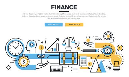 Квартира линия дизайн концепция финансов, анализа рынка, финансового планирования, бухгалтерского учета, корпоративного финансового стратегии, финансового управления, инвестиций, для веб-сайта баннер и целевой страницы. Иллюстрация