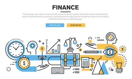 finances: Flat line design concept for finance, market analysis, financial planning, accounting, corporate financial strategy, financial management, investment, for website banner and landing page.