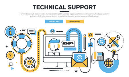 customer support: Flat line design vector illustration concept for technical support, call centre, online service, feedback, customer assistance, 24h help, communication, for website banner and landing page.