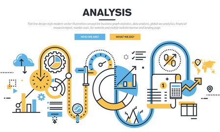 information management: Flat line design vector illustration concept for business graph statistics, data analysis, global seo analytics, financial research report, market stats, for website banner and landing page.