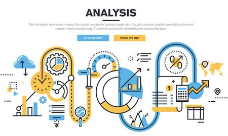 Ploché provedení linek vektorové ilustrace koncepce pro statistiky podnikání graf, analýza dat, globální analytiku SEO, zprávu o finančním výzkumu trhu, statistiky, pro webové stránky banner a vstupní stránky.