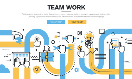 Flat line design style modern vector illustration concept for corporate business, teamwork, management, brainstorming, planning, organization and implementation, for website banner and landing page. Vettoriali