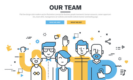 about us: Flat line design style modern vector illustration concept for business people teamwork, human resources, career opportunities, team skills, management, for website banner and landing page.