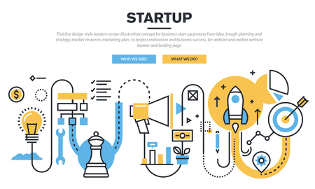 r�alisation: Flat line design concept for business startup process from idea, trough planning and strategy, market research, marketing plan, to realization and business success, for website banner and landing page