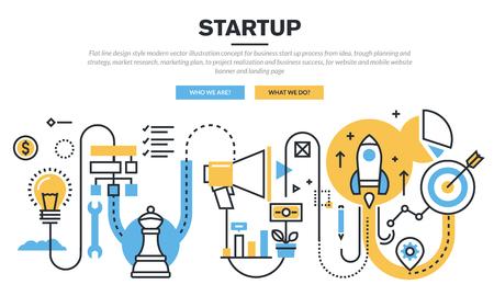 Piatto concetto di linea di design per il processo di avvio di impresa, dalla concezione, pianificazione depressione e la strategia, la ricerca di mercato, piano di marketing, di realizzazione e il successo aziendale, per il sito web banner e landing page
