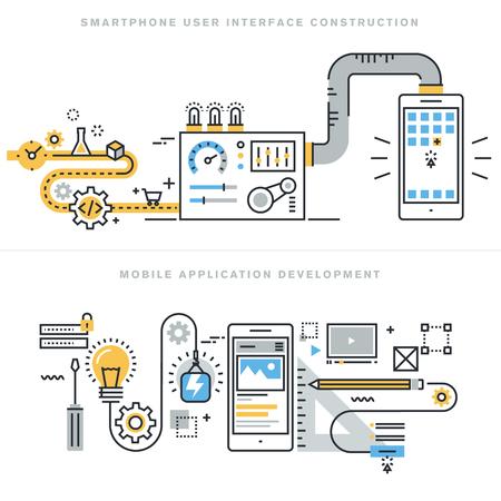 Flache Linie Konzepten für die mobile Website-Design und Entwicklung, die Entwicklung mobiler Anwendungen, ansprechende Design, Programmierung, Suchmaschinenoptimierung, smartphone Benutzerschnittkonstruktion, für die Website-Banner. Standard-Bild - 47546452