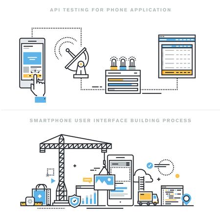 Diseño línea plana ilustración vectorial conceptos para la creación de prototipos API de software y pruebas para el smartphone, aplicaciones se desarrollan con la interfaz API, proceso de construcción de la interfaz de teléfono inteligente, para el sitio web de la bandera.