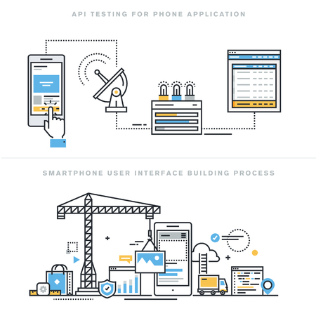 Flat line design vector illustration concepts for software API prototyping and testing for smartphone, app develop with API interface, smartphone interface building process, for website banner. Иллюстрация