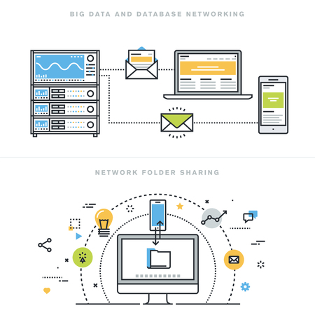 Diseño línea plana ilustración vectorial conceptos para grandes datos y la creación de redes de base de datos, carpeta de uso compartido de red, análisis de la base de datos, servidor de base de datos, tecnología de redes informáticas, para el sitio web bandera.