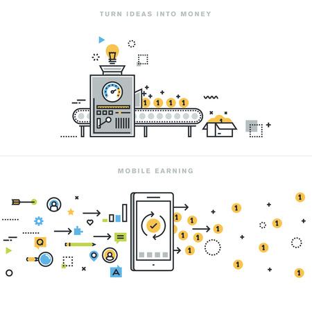 pieniądze: Płaska linia ilustracji wektorowych koncepcje zarabianie pieniędzy w internecie, mobile zarobki, pomysły biznesowe, które przekształca pomysły na pieniądze, doradztwa biznesowego, handlu mobilnego, na stronie baner. Ilustracja