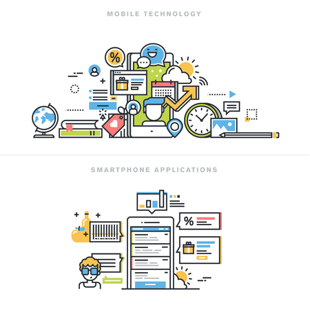 network and media: Flat line design vector illustration concepts for mobile technology, smartphone application, mobile website and app design and development, mobile phone services, for website banner and landing page.