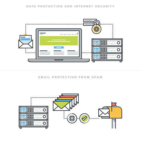web hosting: Flat line design vector illustration concepts for data protection and internet security, online safety, email protection from spam, email security software, for website banner and landing page.