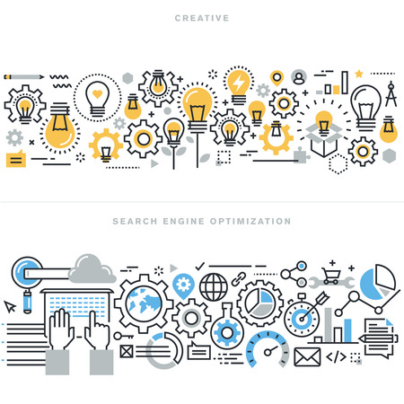search engine marketing: Flat line design vector illustration concepts for creative process workflow, marketing and design agency, website and app design and development, search engine optimization, for website banner.