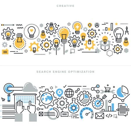 Vlakke lijn ontwerp vector illustratie concepten voor creatieve proces workflow, marketing en design agency, website en app-ontwerp en ontwikkeling, zoekmachine optimalisatie, voor de website banner. Stock Illustratie