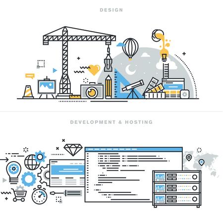 扁線設計矢量插圖概念平面設計,自由職業者和設計機構,網站和應用程序的設計和開發,託管,SSL,對網站的橫幅廣告和登陸頁面。