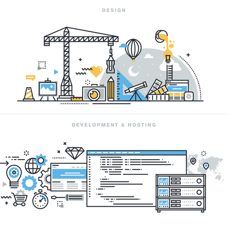 Vlakke lijn ontwerp vector illustratie concepten voor grafisch ontwerp, freelancers en ontwerpbureaus, website en app-ontwerp en ontwikkeling, hosting, ssl, voor de website banner en landing page. Stock Illustratie