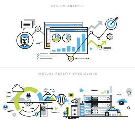 시스템 분석가, 정보 시스템 설계자 및 개발자, 비즈니스 분석가, 가상 현실 기술, 증강 현실, 가상 현실 게임 헤드셋 장치 플랫 라인 디자인 개념.