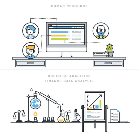 Flat line design vector illustration concepts for human resources, people management, professional skills, business analytics, finance data analysis, for website banner and landing page. Vettoriali