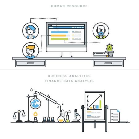fila de personas: Diseño línea plana ilustración vectorial conceptos de recursos humanos, gestión de personas, habilidades profesionales, análisis de negocios, análisis de datos financieros, para la bandera sitio web y la página de destino.