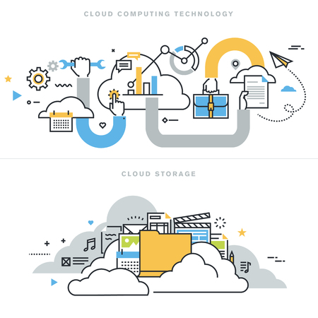 Flat line design vector illustration concepts for cloud computing technology, cloud storage, cloud solutions, security and availability, for website banner and landing page. Иллюстрация